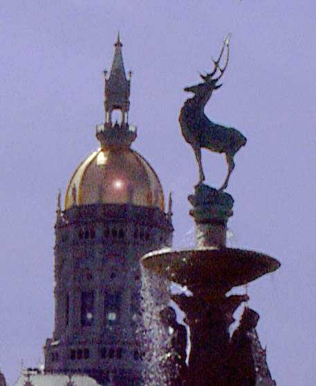 Capitol dome and Corning Fountain